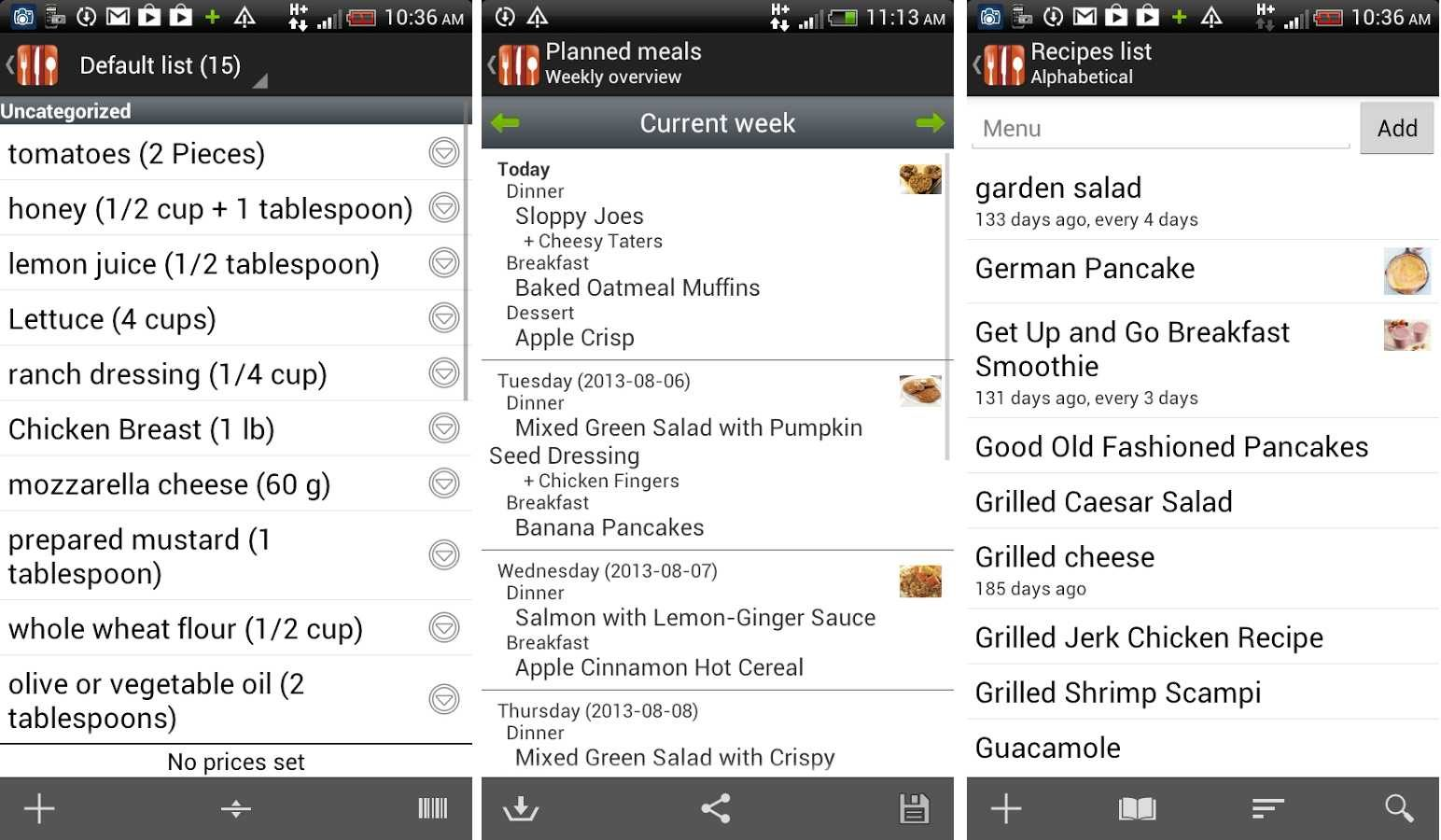 Aplicación Android de cocina Food Planner