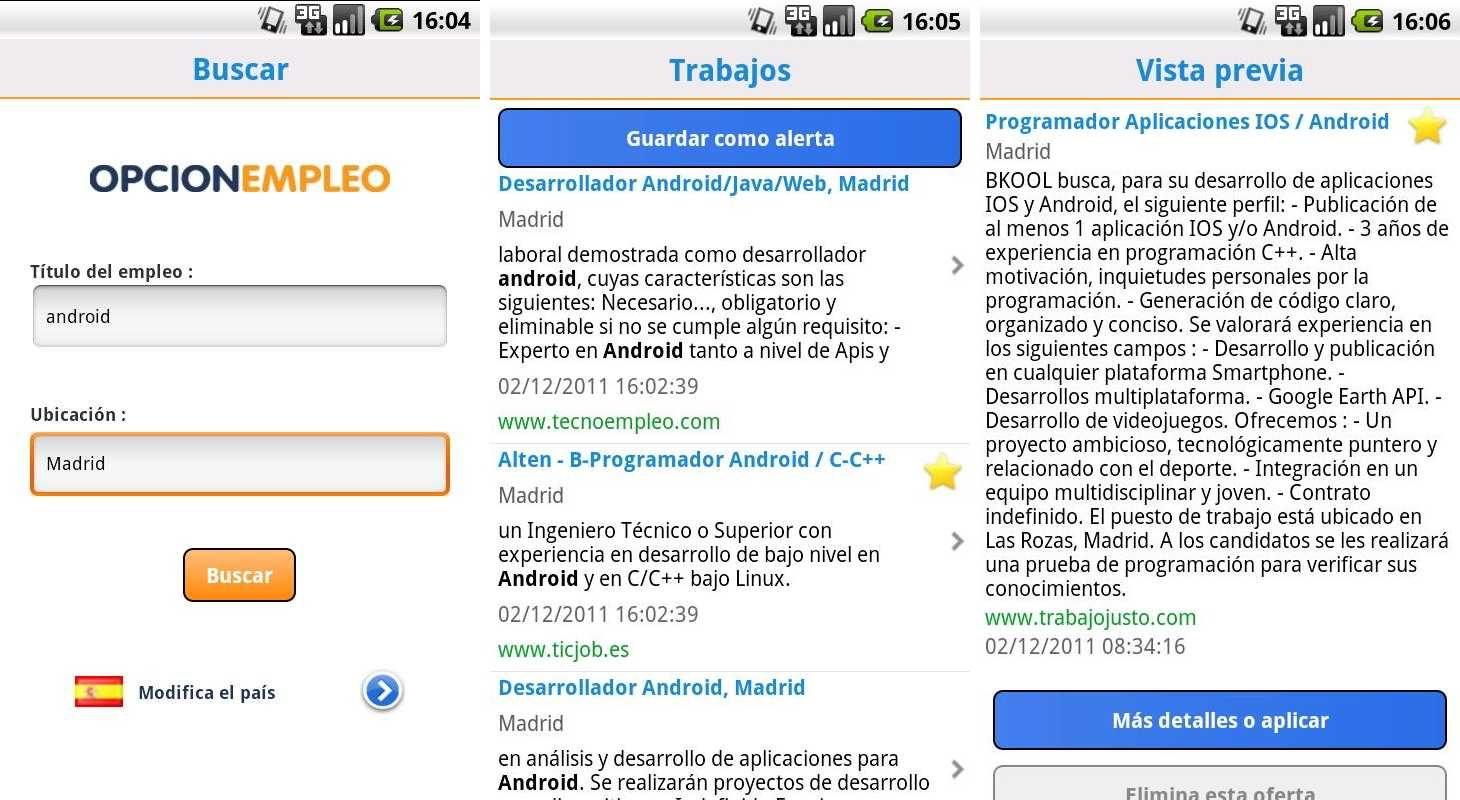 Aplicación Android Opcionempleo