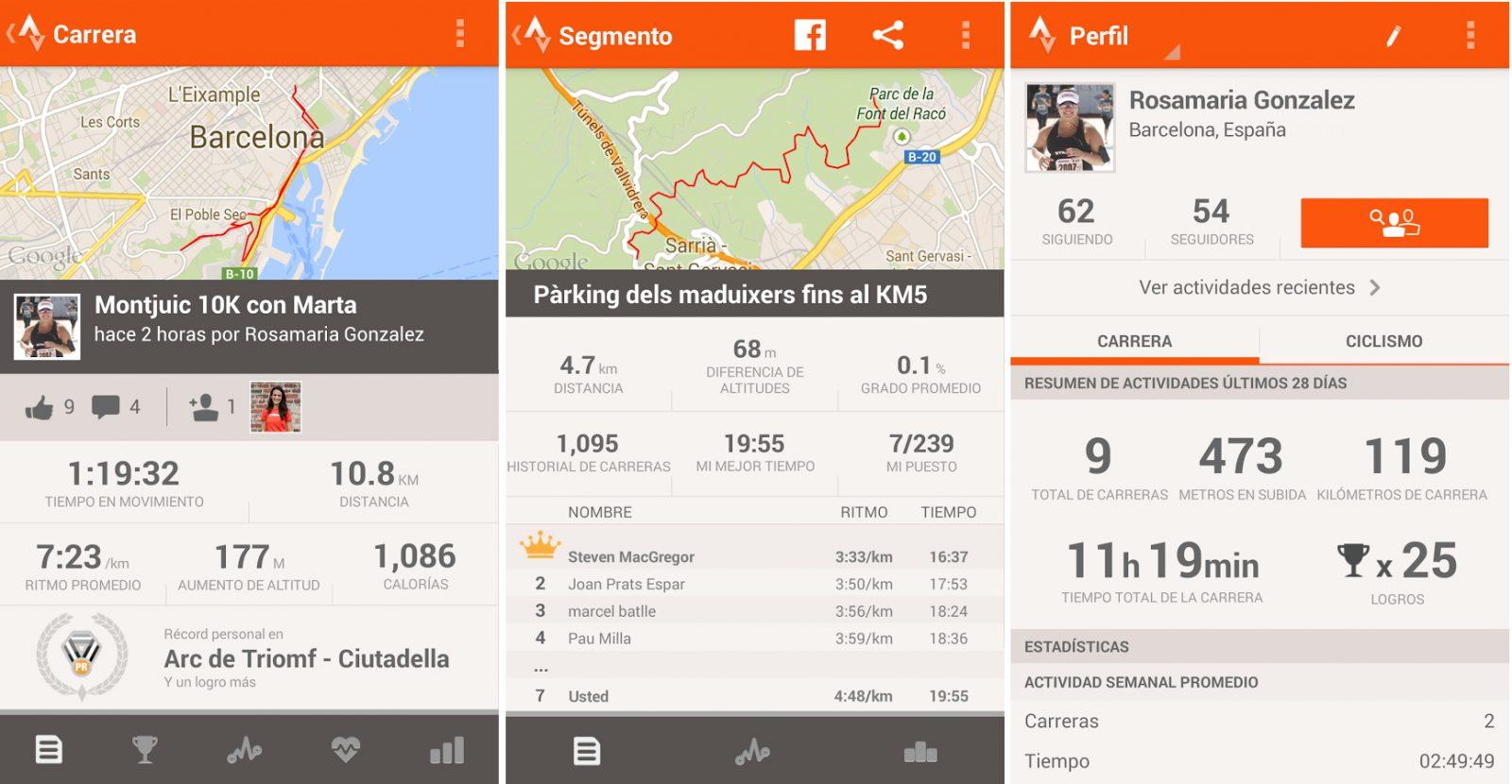 Aplicación de ciclismo Android Strava