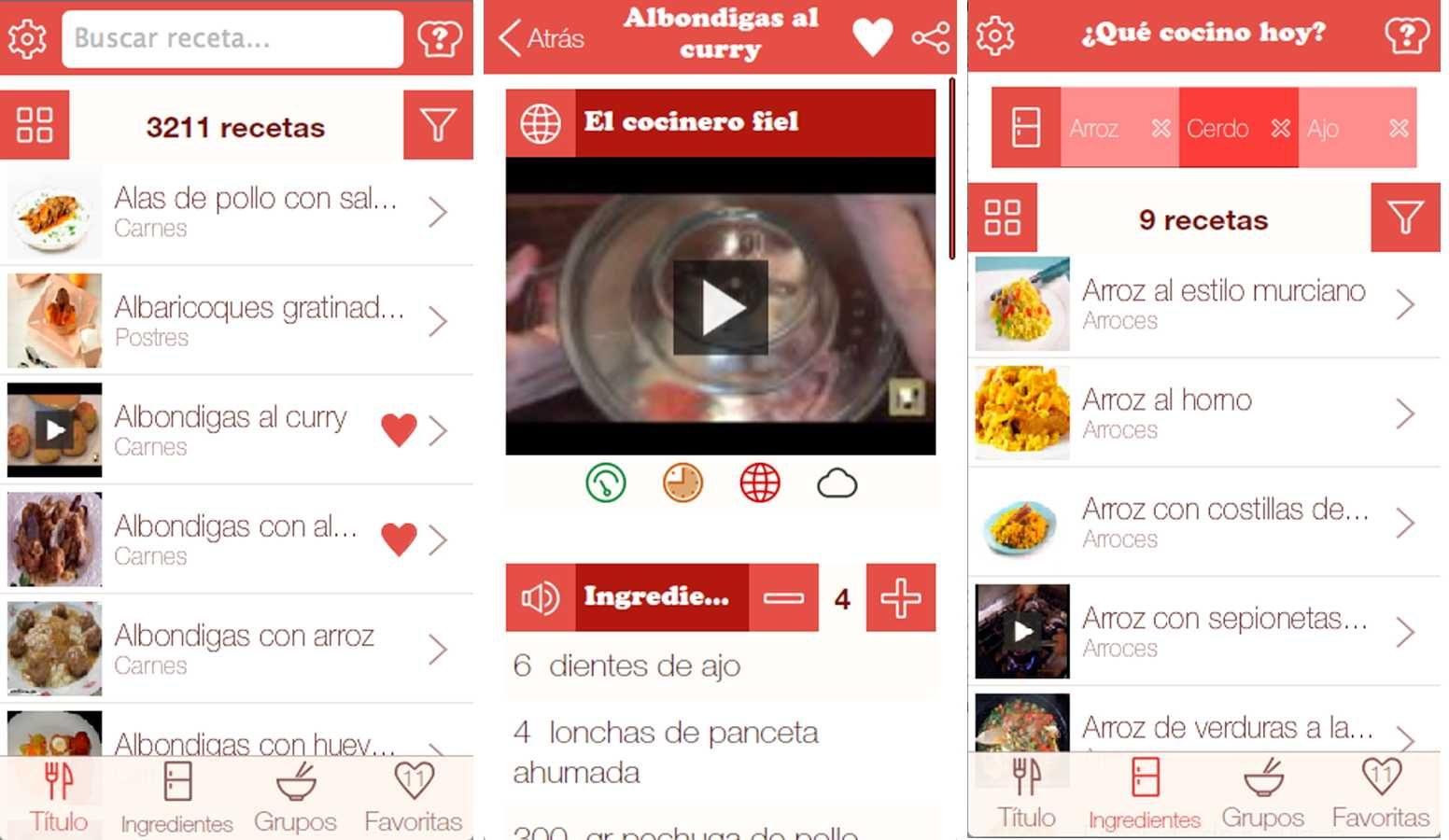 Aplicación de cocina Android ¿Qué cocino hoy?