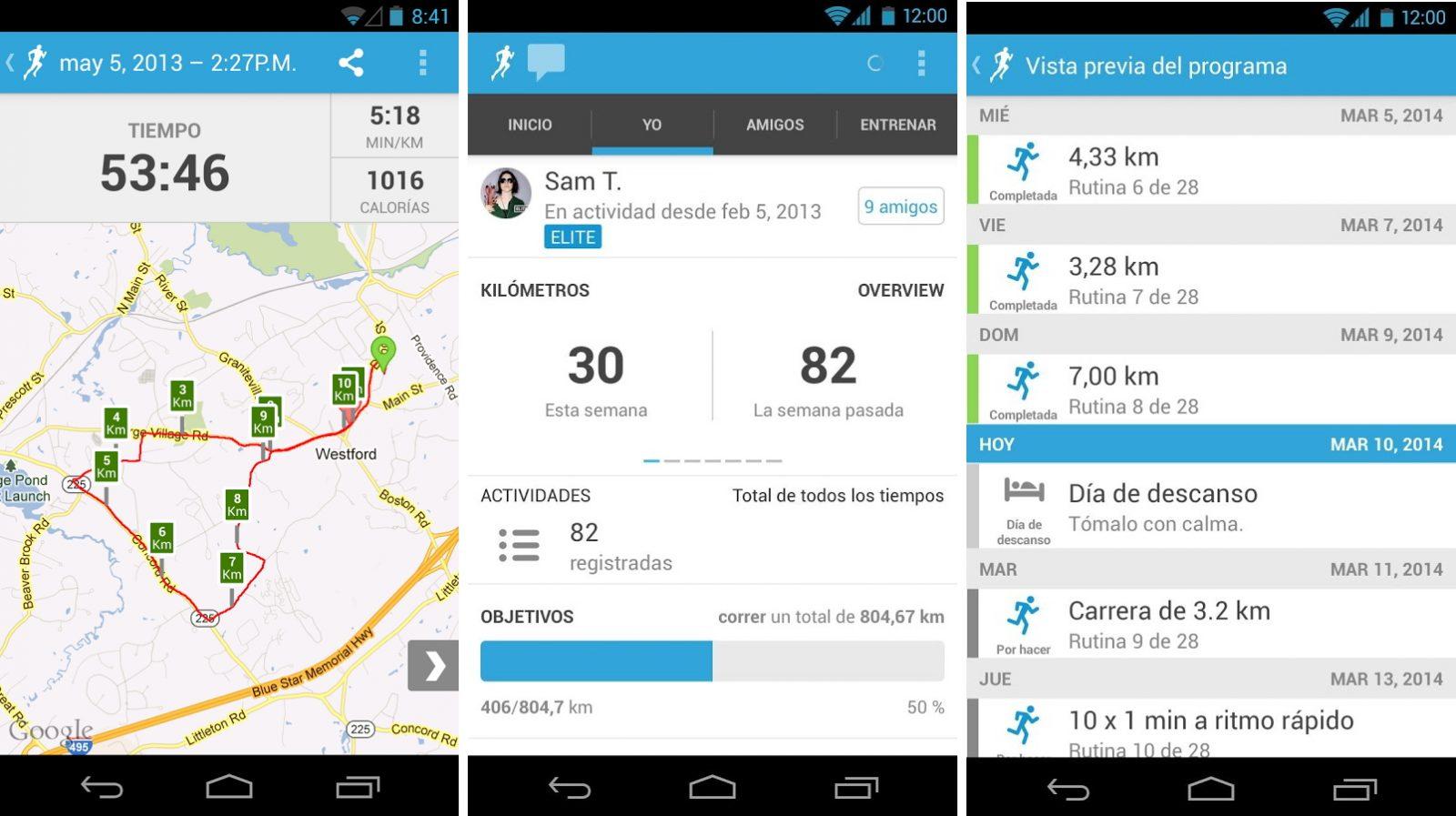 Aplicación de correr Android Runkeeper