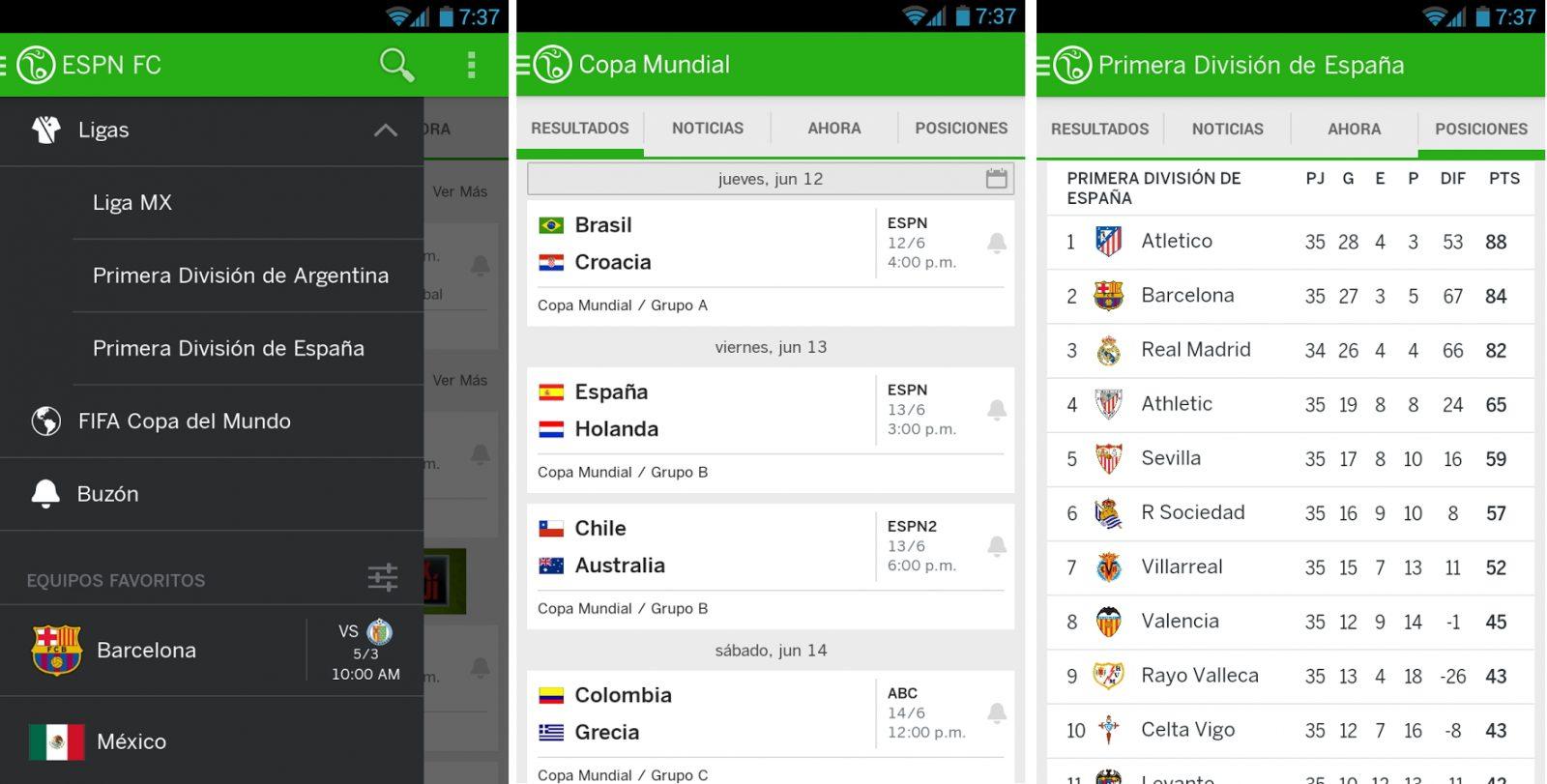 Aplicación de fútbol Android ESPN FC
