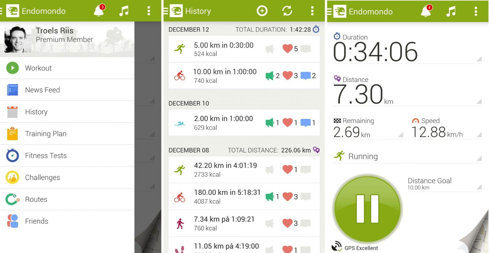 Aplicación deportiva Endomondo Sports Tracker