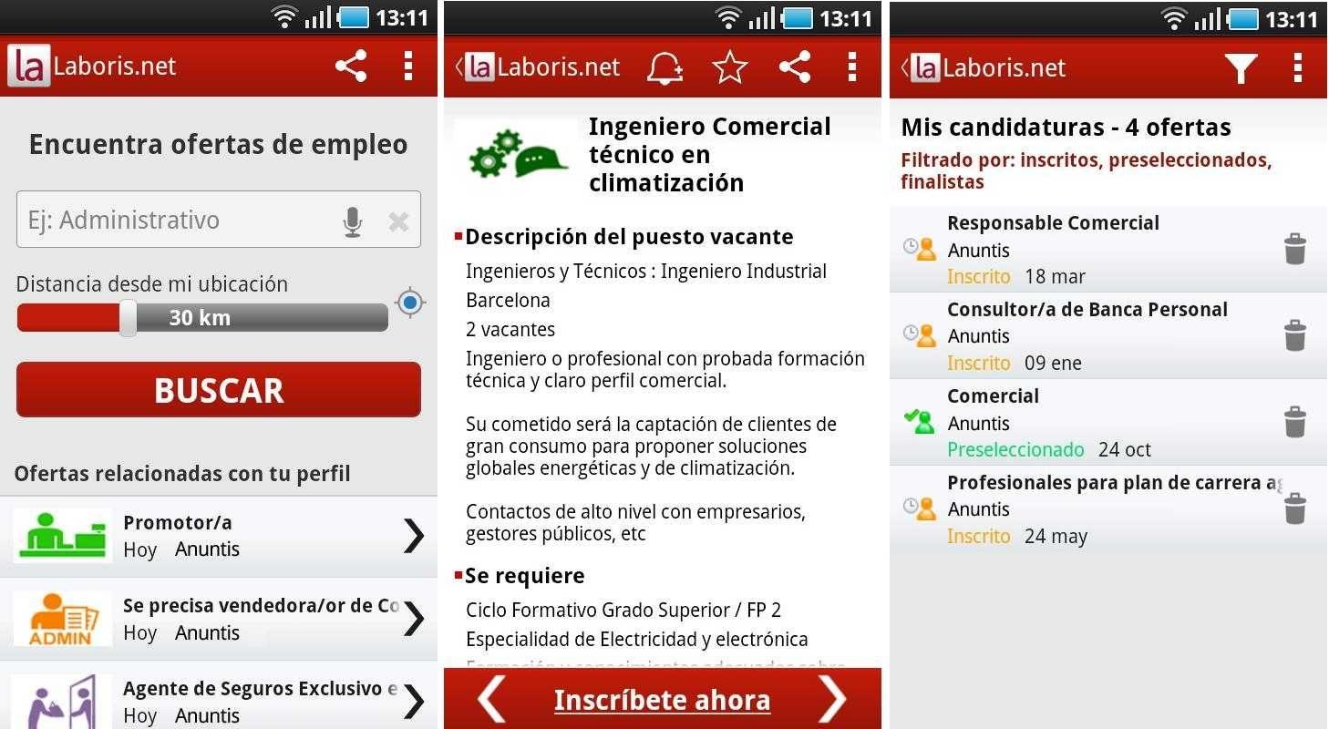 Aplicación Laboris.net, busca trabajo en Android