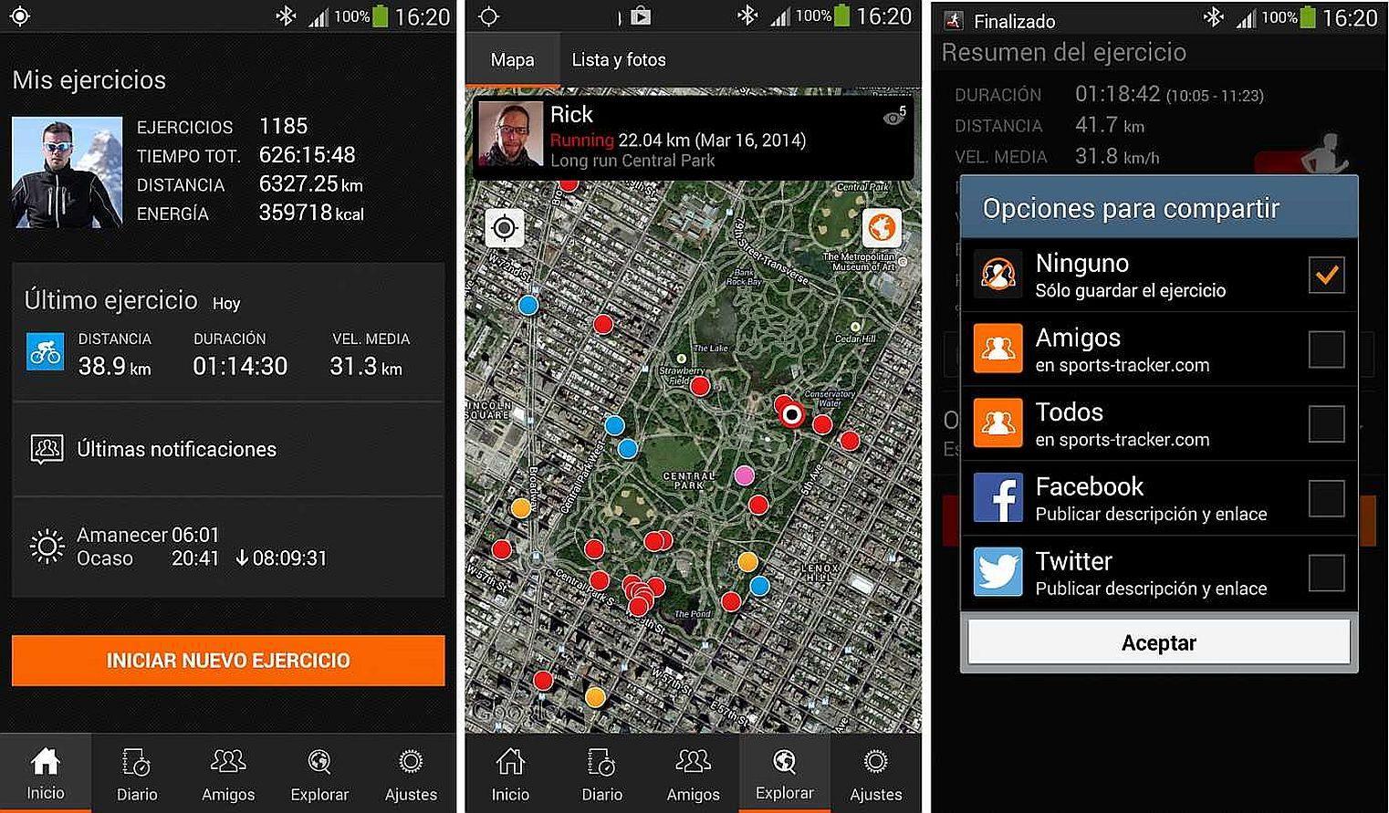 Aplicación para correr Android Sports Tracker