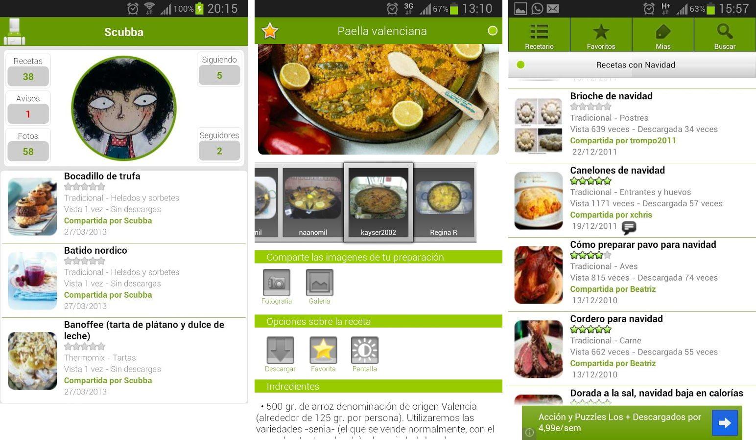 App Android de cocina Recetario Villy