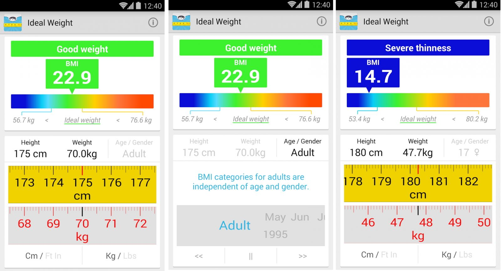 App deportiva Android BMI Calculator