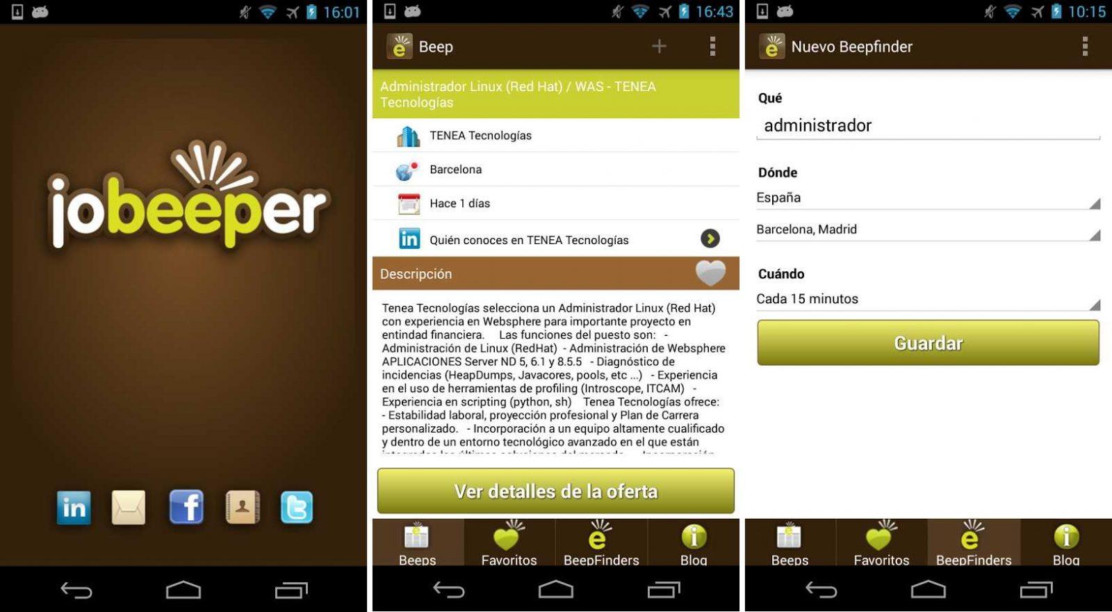 App Jobeeper en Android