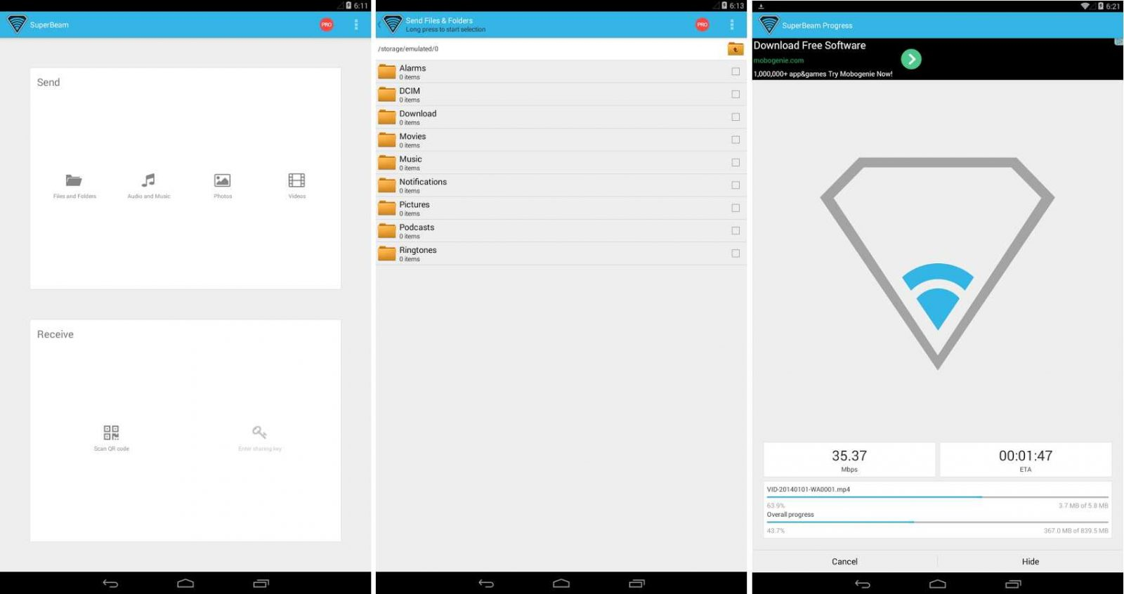 App SuperBeam | WiFi Direct Share en Android