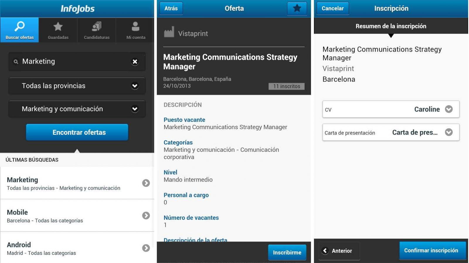 Infojobs, app Android para buscar trabajo