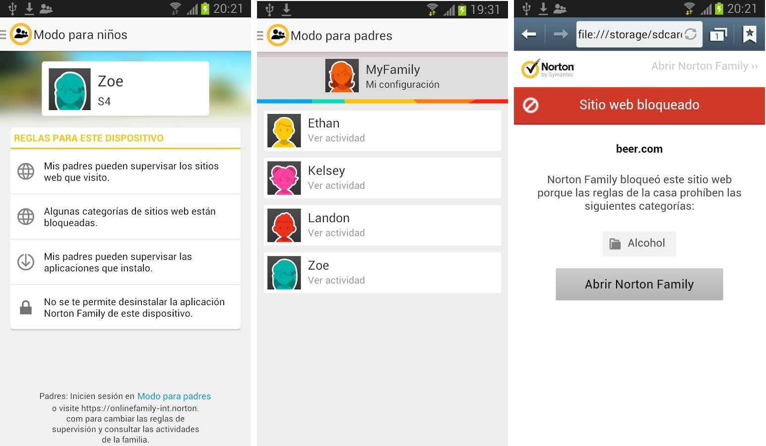 Norton Safety Minder, app para Android